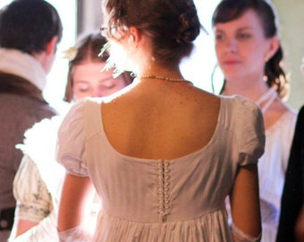 Regency dress, Jane Austen ballwear, White cotton high waistline