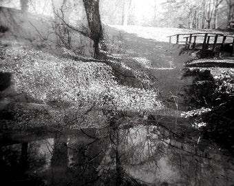 Surreal Landscape Photography, Holga Photography, Toy Camera Photography, Moody Landscape, Wall Art, Black and White, Ritter Bridge,
