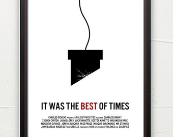Literature poster, Tale of Two Cities, book art, classic literature, minimalist, contemporary art