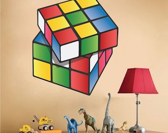 Rubik's Cube Decals, Rubik's Cube Wall Art Design, Kids' Room Rubik's Cube, Rubik's Cube Wall Art Design, Rubik's Cube Wall Sticker, n17