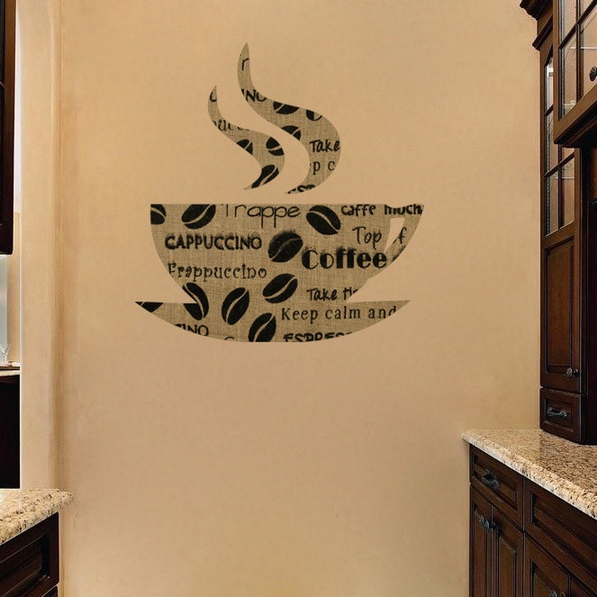 Coffee wallpaper sticker decal coffee mug wall design for Mural coffee shop
