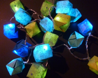 Garland 20 leds paper origami yellow/green and blue