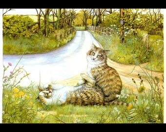 Cat Painting, Original Vintage Cat Artwork By Zoe Stoles, Professionally Matted 8x10, Whimsical Cat Art, Wall Hanging