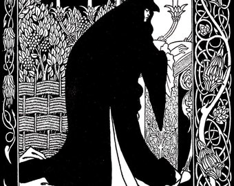 Art Nouveau Print - Vintage Aubrey Beardsley Illustration for 'Le Morte d'Authur', Circa 1894, Original Book Plate Print, Ready For Framing