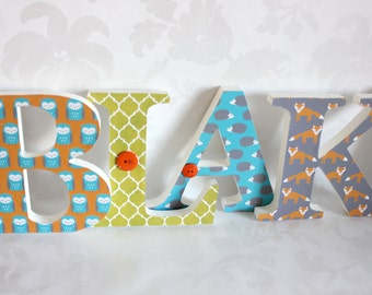 Woodland Theme Bold Wooden Letters for Nursery or Boys room