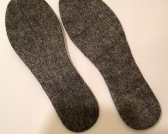 Set of 2 pairs  .Soles (insoles)  for Crocheted Shoes for Slippers made from Sheet Felt