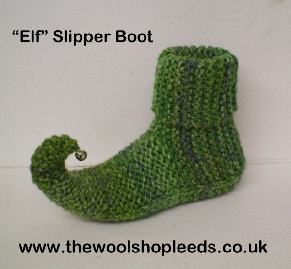 Easy to follow knitting pattern for our Elf Slipper Boot in