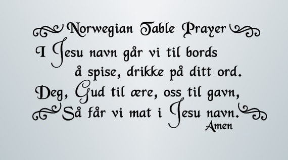 Norwegian Table Prayer Vinyl Wall Decal I Jesu By Vinylchaos