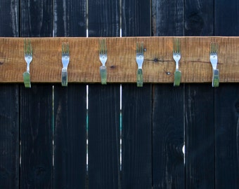 Hanger with forks. Rustic barn wood coat hat rack. Handmade item
