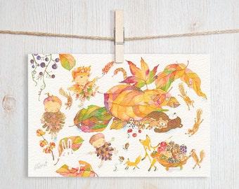 Full of Autumn Art Postcard
