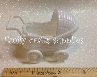 "12 White Baby Shower Carriage 2 1/4"" wide."