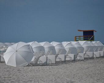 Miami Beach before the crowds, beach photograph, sand, umbrellas, Miami
