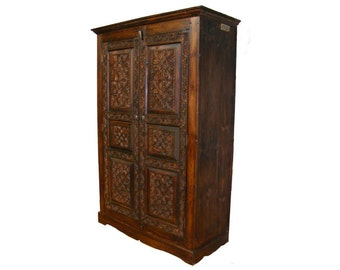 antique-look Hand Carved orient vintage wooden wardrobe cupboard cabinet from Afghanistan No-NUR28