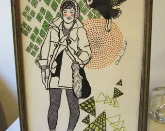 Stylish watercolor painting with vintage metal frame
