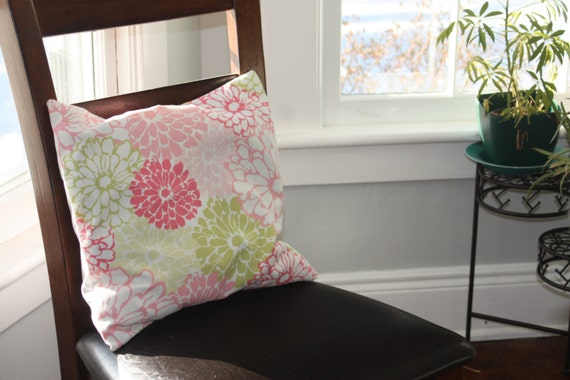 16x16 pink and green floral pillow cover