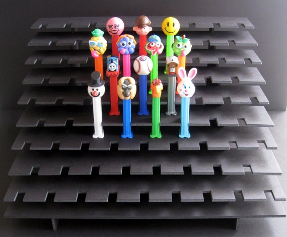 77 PEZ Display Shelf Stadium Style - Holds 77 Dispensers - Black or White