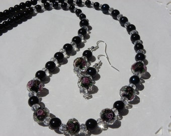 adornment in jade rose 10 mm with Crystal and earrings