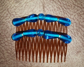 Beaded comb - blue glass beads on brown comb