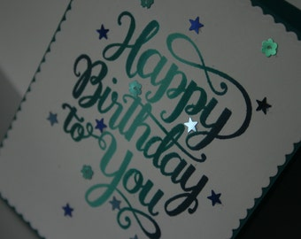 Happy birthday bling card with sequins and ombre ink