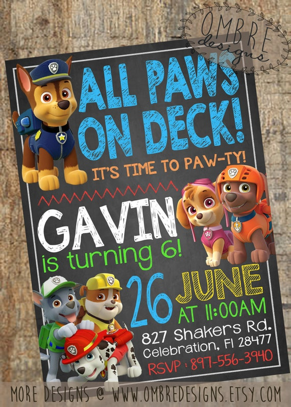 Paw patrol invitation chalkboard with skye paw by ombredesigns for Paw patrol birthday invites