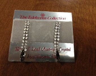 Vintage Edelweiss Collection Silvertone and White Austrian Crystal Dangle Earrings