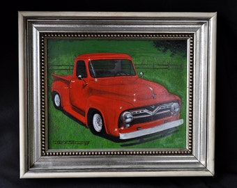 """1950s Ford Pickup, Bright Red - by Jack E. Sealman, an 8""""x10"""" original oil painting on masonite w/11x13 frame"""