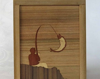 Marquetry of fisherman with cedar-Fisherman frame inlaid marquetry with cedar frame