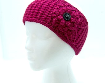 Berry Crochet Headband with Flower