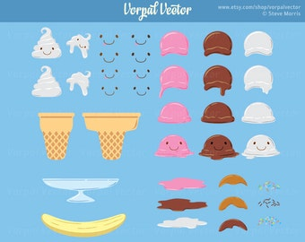 Ice Cream Kawaii Clipart Set, Ice Cream Cone, Banana Split, Ice Cream Sundae, Clip Art, Cute, Happy - Instant Download