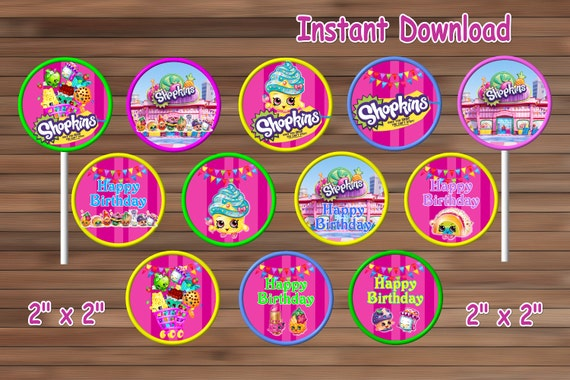 Shopkins Cupcake Toppers Printable Instant Download By MyHBparty