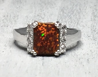 women's black fire opal clear cz 925 sterling silver promise engagement fashion ring size 5 6 7 8 9 10