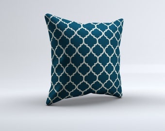 blue quatrefoil throw pillow, modern throw pillow, decorative pillow, 16x16, 18x18, 20x20,14x14, blue throw pillow