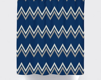 blue tan chevron aztec shower curtain, modern shower curtain, chevron shower curtain, high quality fabric curtain