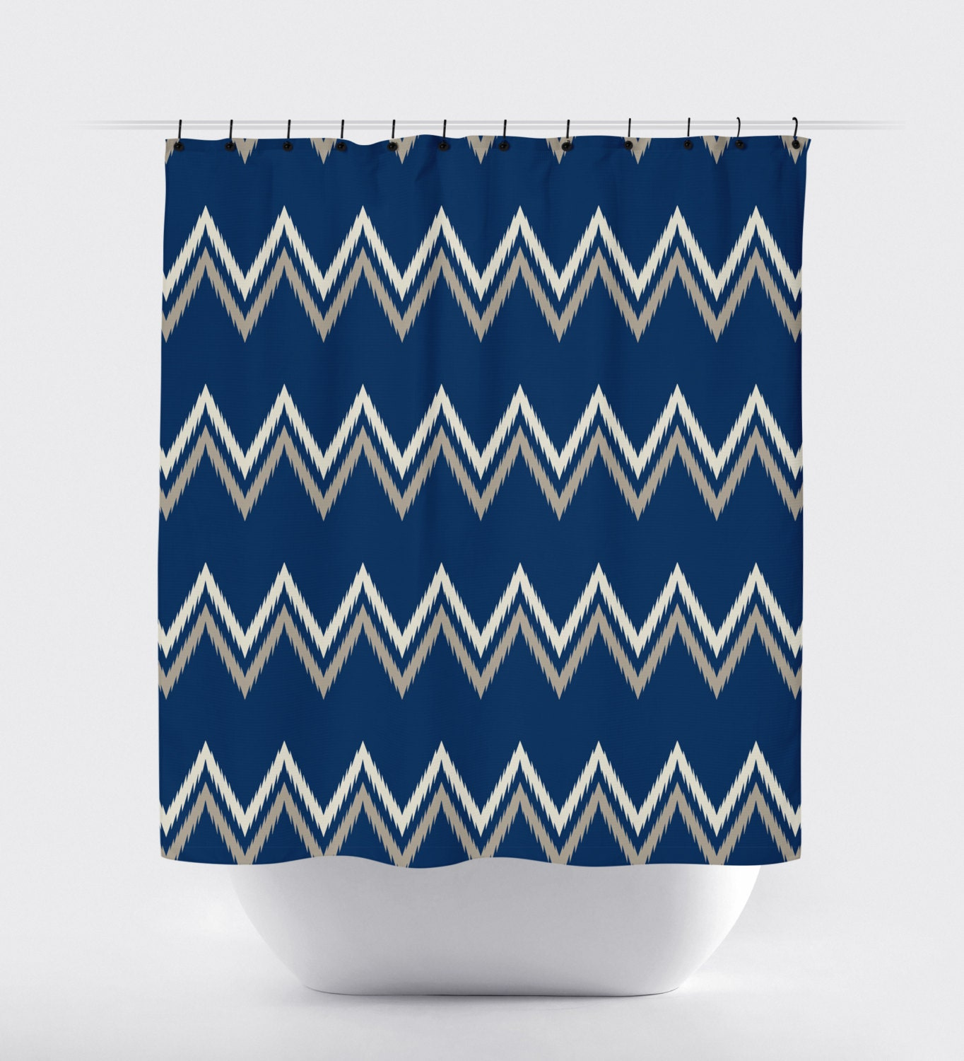 Blue Tan Chevron Aztec Shower Curtain Modern Shower Curtain