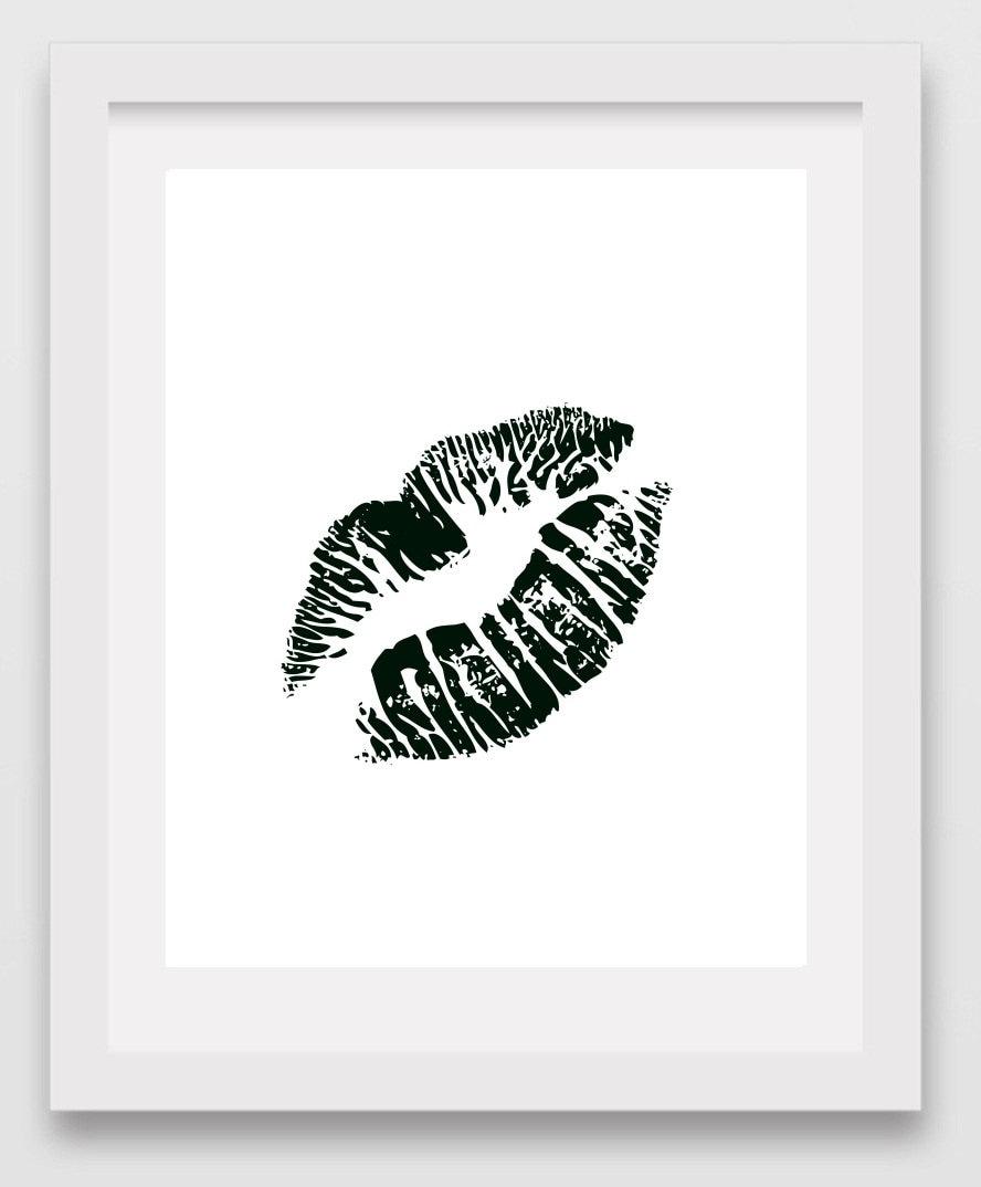Kiss print black kiss lips wall art printable by for Lips wall art