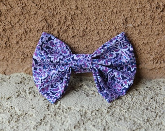 Purple Blue White Patterned Fabric Hair Bow