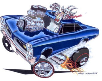 Howdy 28431 Print additionally Goat cartoon art besides Street Outlaws besides Vince Crains Hay Now Rat Rod 50s Custom together with Vince Crains Goatinator 1967 Pontiac Gto. on 1969 gto guilty