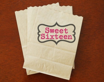Sweet 16 Party Favor Bags - Popcorn, Candy, Treat Bags