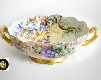 T and V Limoges double handled bowl - hand painted circa 1900