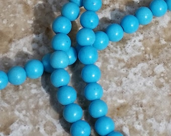 Turquoise Beads, tiny round 3.5mm accent beads - 1/2 strand - G406