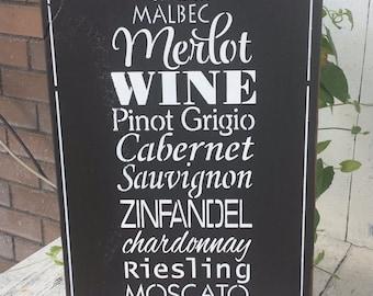 Wine, wood sign