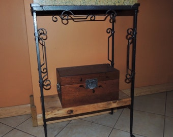 Wrought Iron Stand with Granite Top