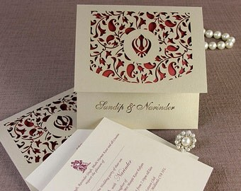 Luxury Intricate Lace Laser Cut Sikh Overlap Fold Indian Hindu Asian Wedding Invitation Personalised Complimentary Envelopes and Printing