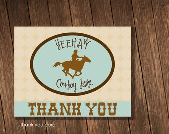 Cowboy Theme Birthday Party - Personalized Printable 5.5 x 4.25 Thank You Notecard