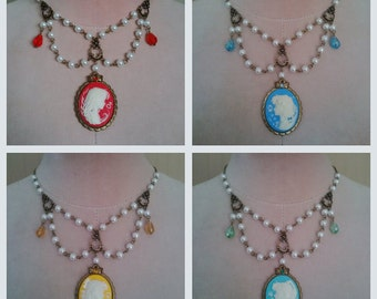 Sailor Moon Scouts Radiance Cameo Necklace (5 versions: Moon Mercury Mars Jupiter Venus ) with pearls (antique gold tone)
