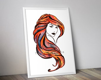 Girl with red hair, woman with red hair, lady hair, seductive woman