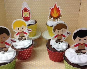 Camping Cupcake Topper Decorations - Set of 10