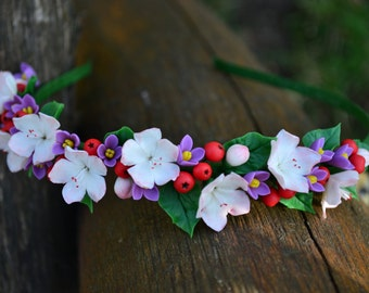 Flower headband. Handmade fashion Flower Hair hoop. Hair wreath. Blossom. Ash. Lilac