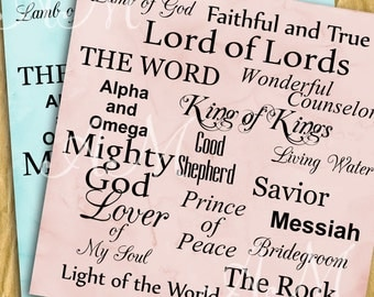 Almost Free Names of Jesus, Vintage Paper,  Digital Paper, Paper Pack, Instant Download, Scrapbook Papers,Christian,Scrapbooking, Background