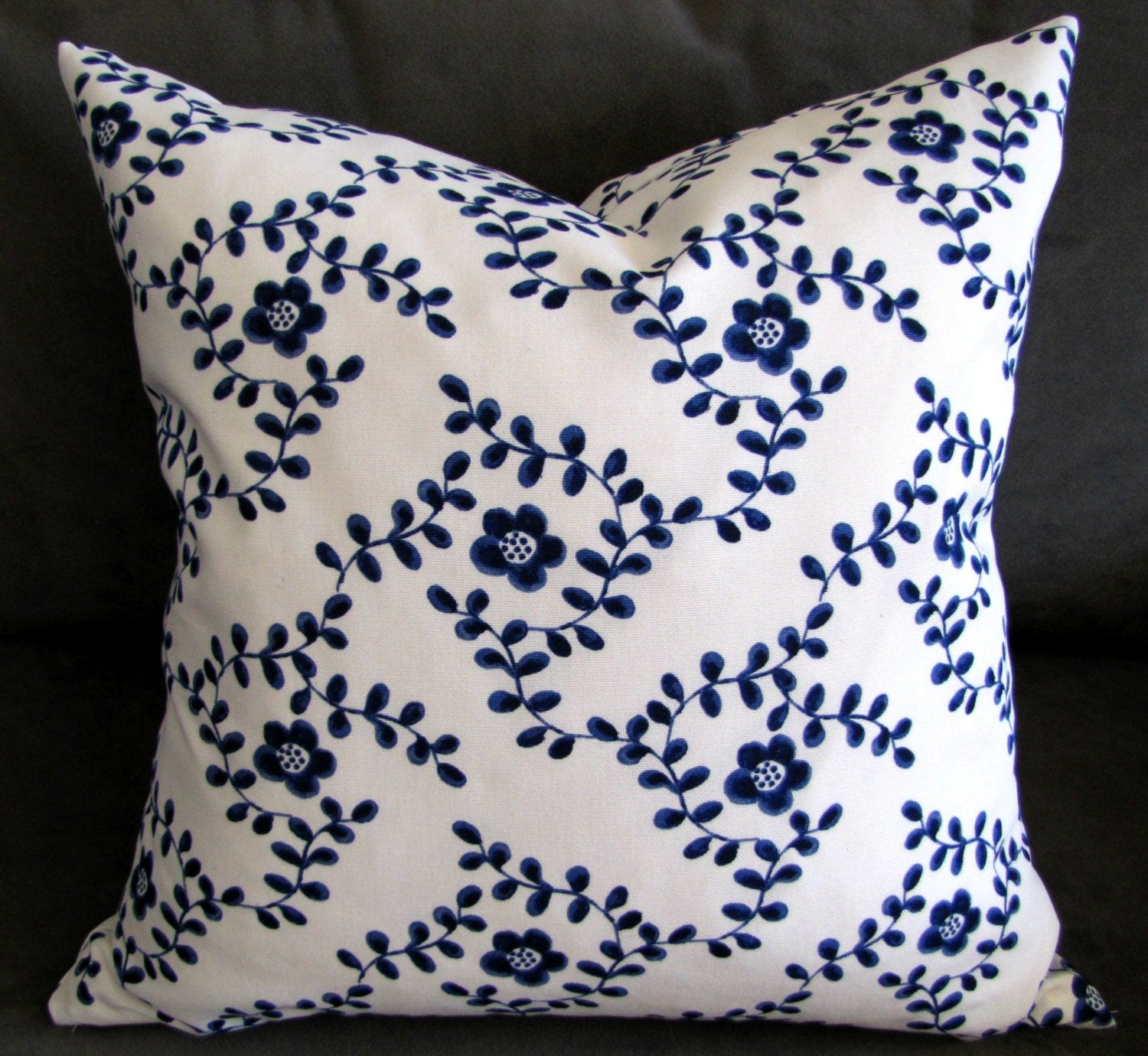 Blue And White Throw Pillow Floral Vines Sofa By Gratefulhome